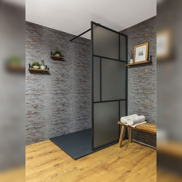 Drench Matte Suzhou oriental style shower screen with black fame