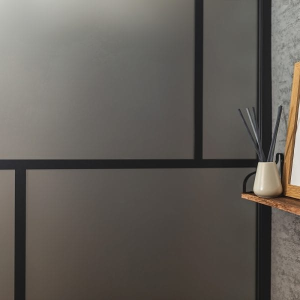 Drench Matte Suzhou oriental style shower screen with black fame and frosted glass