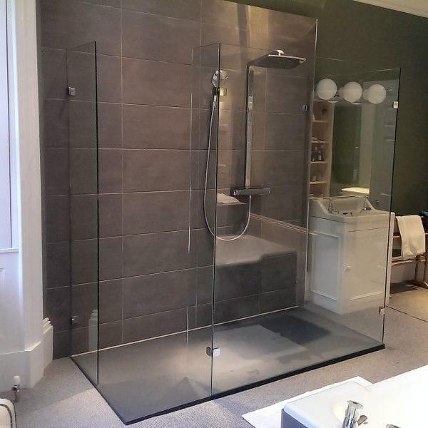 3 panel framless glass walkin shower screen made by Room H2o
