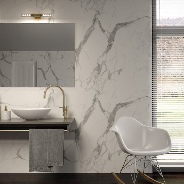 Bathroom feature wall with BB Nuance Calacatta Statuario marble effect wall boards
