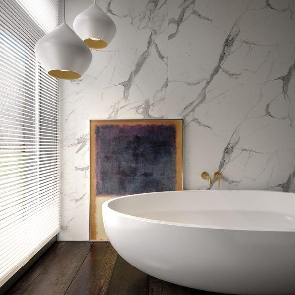 Luxury bathroom featuring BB Nuance Calacatta Statuario marble effect bathroom wall cladding