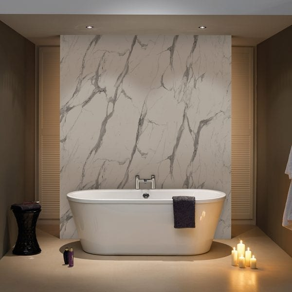 BB Nuance Calacatta Statuario marble effect wet wall boards used to create a feature wall in a luxury bathroom