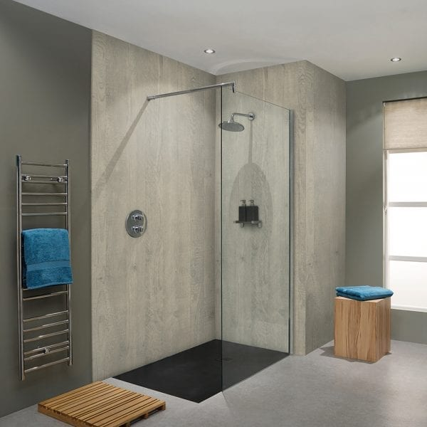 BB Nuance Chalkwood timber effect wet wall boards in a shower