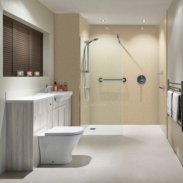 Shower with BB Nuance shower wall panels in classic travertine