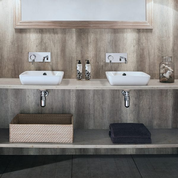 Twin basins with Nuance driftwood effect bathroom wall panel splash back