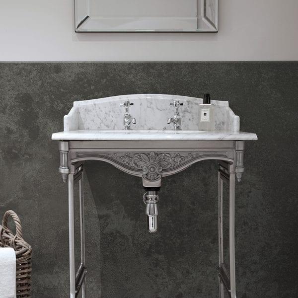 Luxury bathroom featuring BB Nuance slate grey stone effect bathroom wall cladding with a riven finish