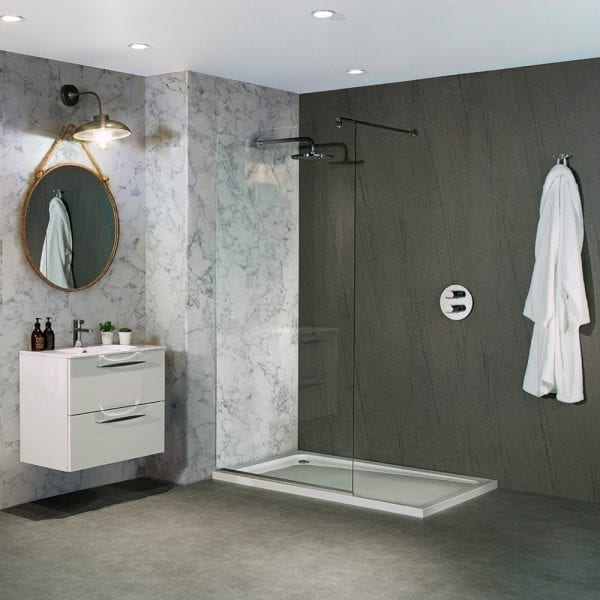 Shower featuring Turin Marble and Natural Greystone stone effect shower wall boards