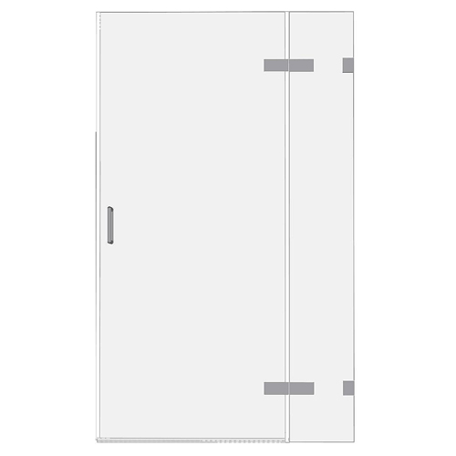 Room H2o glass hinged frameless shower door and inline panel for recesses