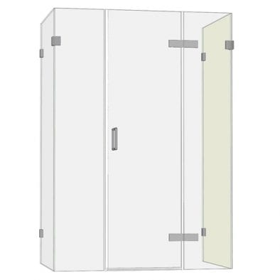 Room H2o frameless hinged shower door with 2 inline panels and 2 side panels