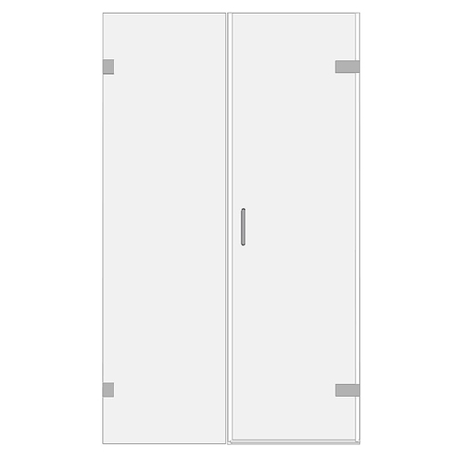 Room H2o frameless galss shower door with inline panel for recesses