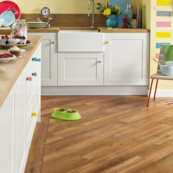 Karndean classic oak vinyl plank flooring in a kitchen