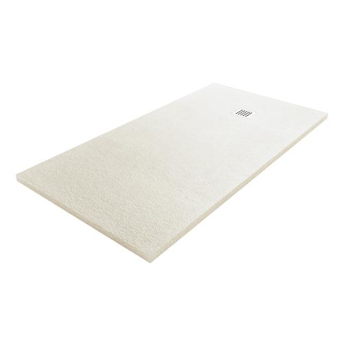 Fiora Silex designer low profile stone effect shower tray in Blanco Roto off white colour 0T