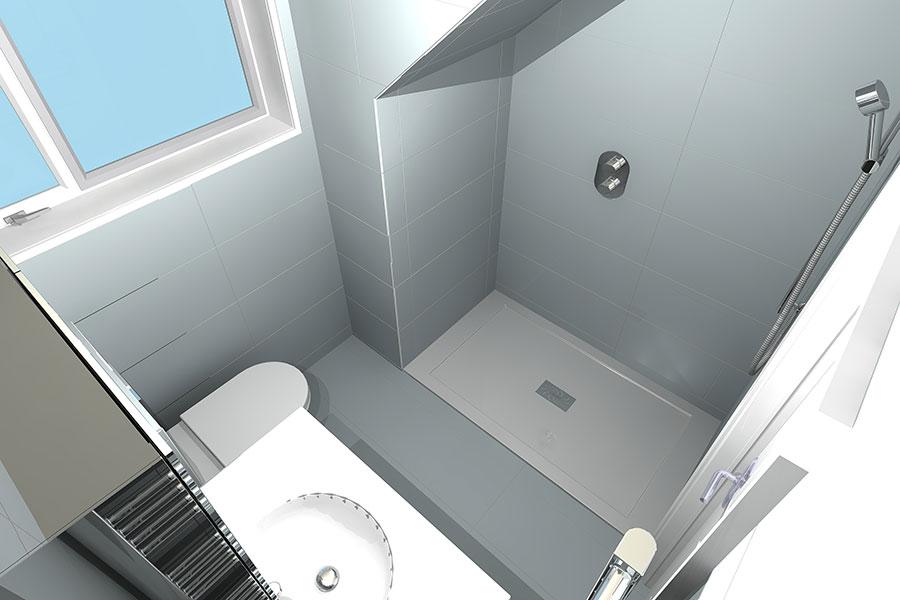 Shower Room 3D design under eaves