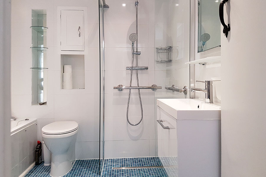 The wide opening to the wetroom shower provides easy access for a wheel chair