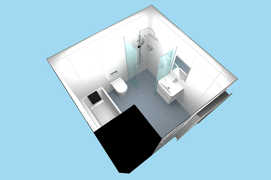 Virtual design for a disability bathroom in Dorset by Room H2o