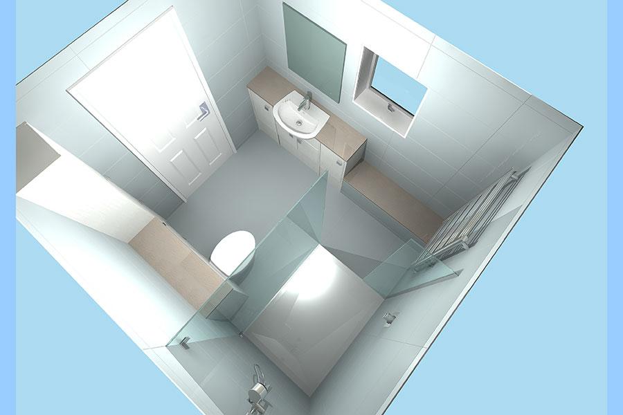 Virtual bathroom design created by Room H2o
