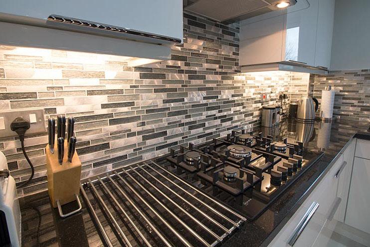 stone and glass segment mosaic kitchen splashback tiles