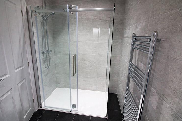 Large sliding shower created for the master ensuite bathroom
