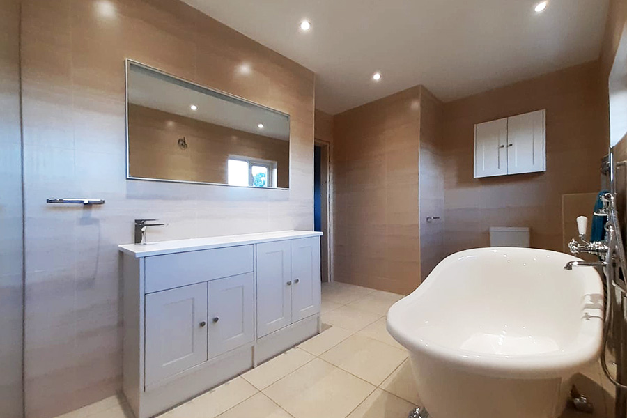 New bathroom with freestanding bath in Wareham by Room H2o