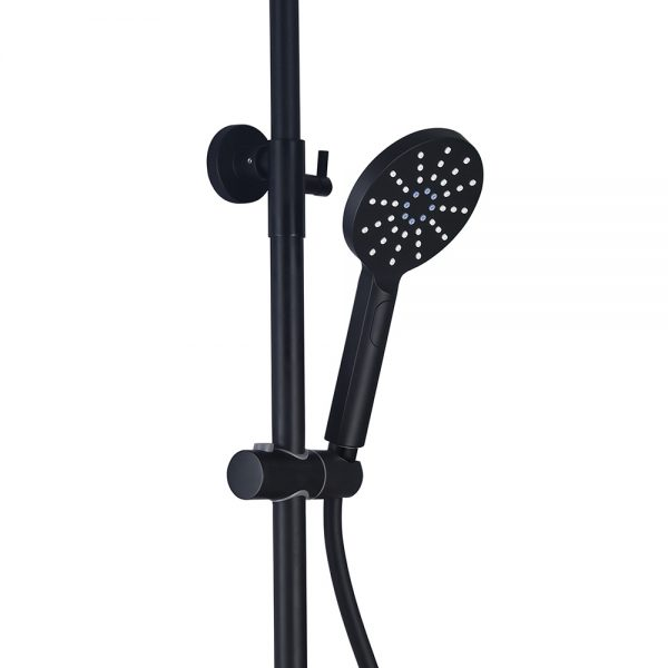 mat black hand shower with adjustable riser kit