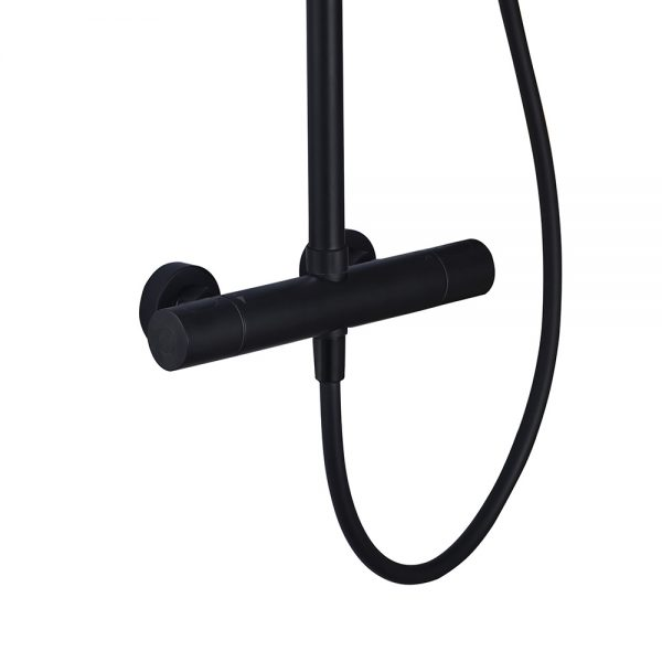 Matt black exposed shower valve with multi-function and cool touch technology