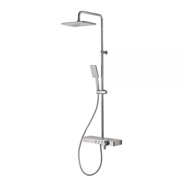 Vema Thermostatic Shower Column with and set and foot wash in chrome and white finish