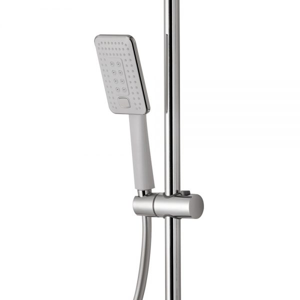 Vema white and chrome hand shower and riser kit for exposed thermostatic shower valve