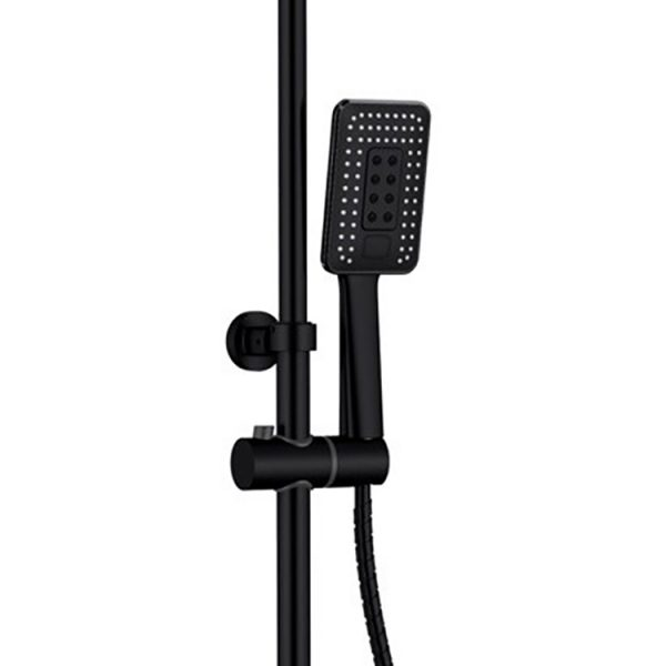 Vema black hand shower and riser kit for exposed thermostatic shower valve