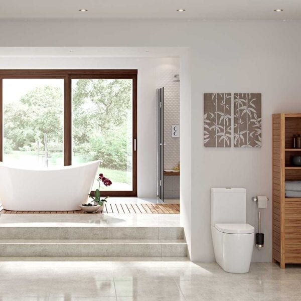 Modern Bathroom Featuring Cilantro Rimless C/C Open Back WC & Soft Close Seat