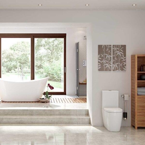 Modern Bathroom Featuring Cilantro Rimless C/C Open Back WC & Soft Close Seat