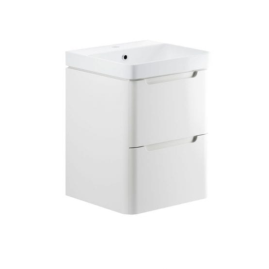 Lambra wall hung bathroom vanity unit and sink 500 wide in white gloss finish DIFTP1782