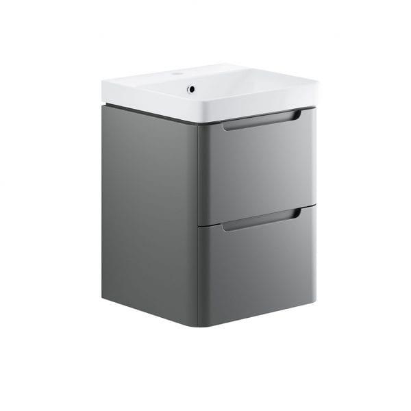 Lambra Wall Hung bathroom vanity unit and sink 500 wide in matt grey finish DIFTP1784