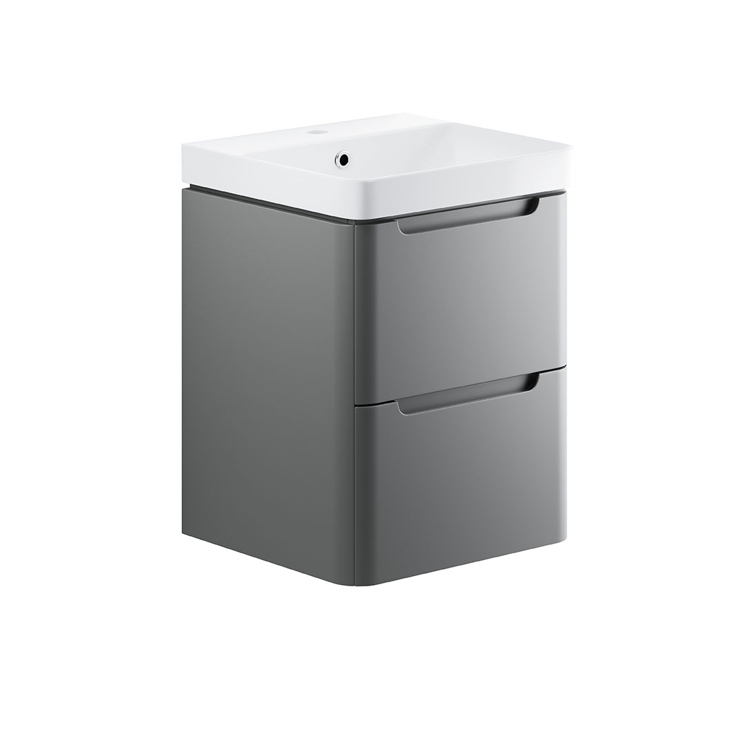 Lambra Matt Grey 500mm Wall Hung Vanity Unit Basin Room H2o