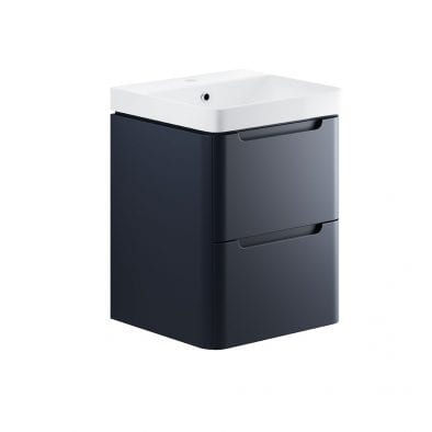 Lambra wall hung bathroom vanity unit and sink 500 wide in matt indigo finish DIFTP1786