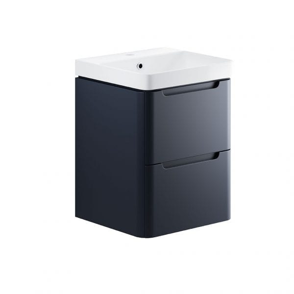 Lambra wall hung bathroom vanity unit and sink 500 wide in matt indigo finish DIFTP1786
