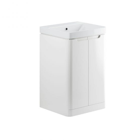 Lambra freestanding bathroom vanity unit and sink 500 wide in white gloss finish DIFTP1788