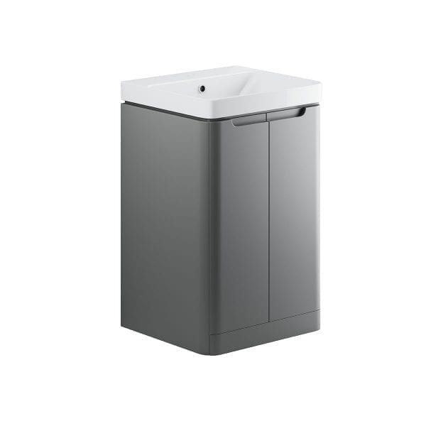 Lambra freestanding bathroom vanity unit and sink 500 wide in matt grey finish DIFTP1790