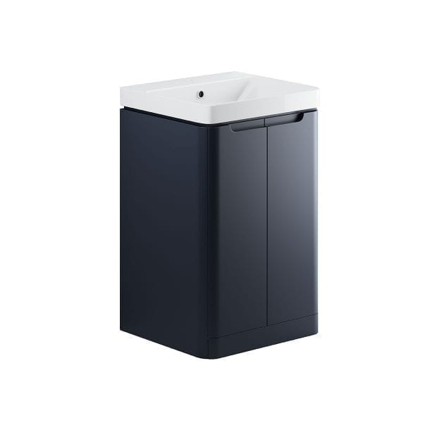 Lambra freestanding bathroom vanity unit and sink 500 wide in matt indigo finish DIFTP1792