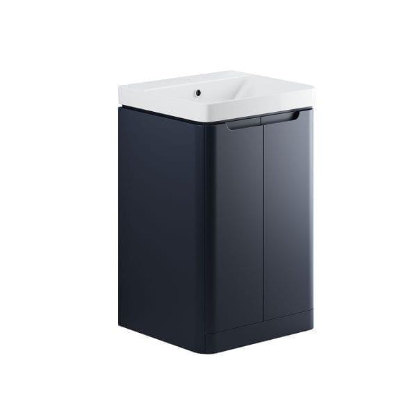 Lambra freestanding bathroom vanity unit and sink 500 wide in matt indigo finish DIFTP1792
