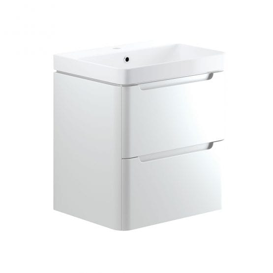 Lambra wall hung bathroom vanity unit and sink 600 wide in white gloss finish DIFTP1794