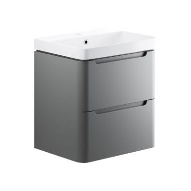 Lambra wall hung bathroom vanity unit and sink 600 wide in matt grey finish DIFTP1796