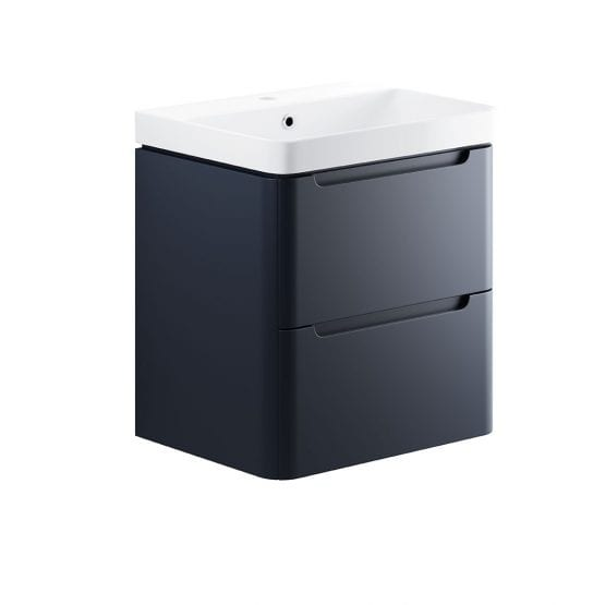 Lambra wall hung bathroom vanity unit and sink 600 wide in matt indigo finish DIFTP1798