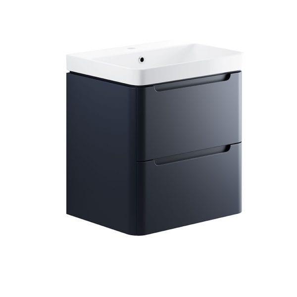 Lambra wall hung bathroom vanity unit and sink 600 wide in matt indigo finish DIFTP1798