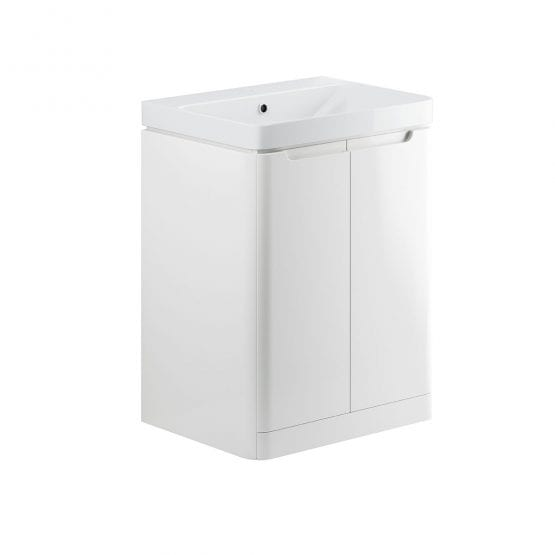 Lambra freestanding bathroom vanity unit and sink 600 wide in white gloss finish DIFTP1800