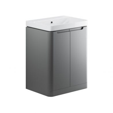 Lambra freestanding bathroom vanity unit and sink 600 wide in matt grey finish DIFTP1802