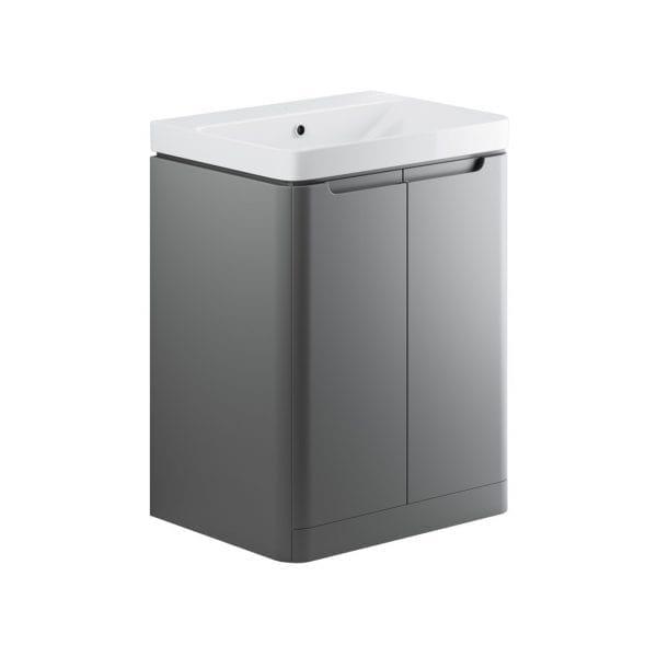 Lambra freestanding bathroom vanity unit and sink 600 wide in matt grey finish DIFTP1802
