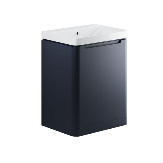 Lambra freestanding bathroom vanity unit and sink 600 wide in matt indigo finish DIFTP1804