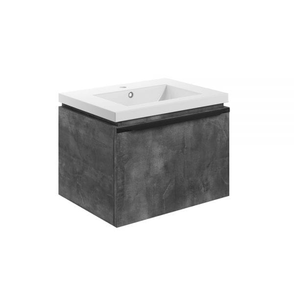 Bathrooms to Love Framework wall hung vanity unit and basin in metal grey