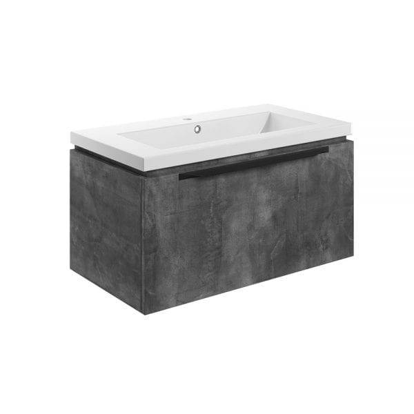 Bathrooms to Love Framework 815mm wall hung vanity unit and basin in metal grey