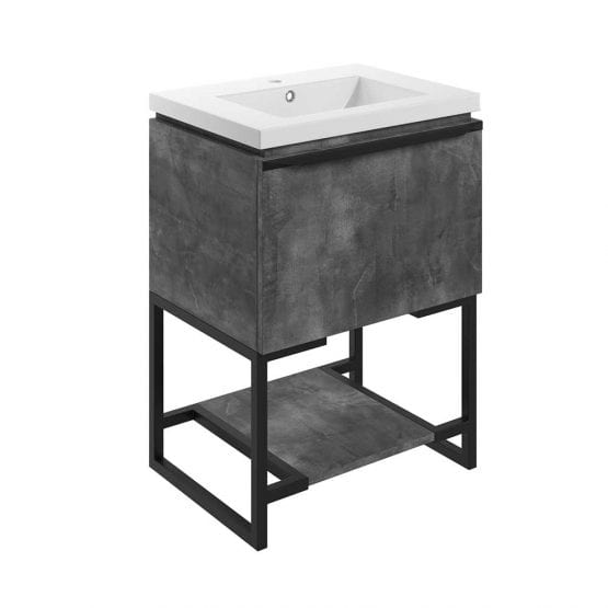 Frame freestanding bathroom vanity unit and sink 600 wide in grey metal finish DIFTP2032
